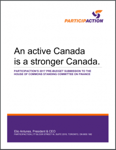 Participaction 2017 Pre-Budget Submission