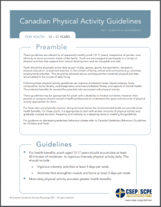 CSEP Sedentary Behaviour Guidelines 12 - 17
