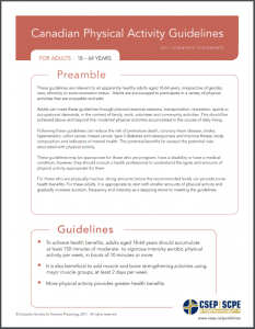CSEP Sedentary Behaviour Guidelines 18 - 64