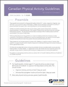CSEP Sedentary Behaviour Guidelines 5 - 11